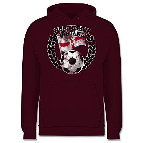 EM 2016 - Frankreich - Northern Ireland Flagge & Fußball Vintage - Männer Premium Kapuzenpullover / Hoodie Burgundrot