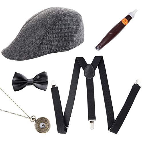 ShiyiUP 1920er Jahre Herren Zubehör Set Hosenträger Kappe Schleife Halskette Zigarre 5 Stück Gangster Verkleidung (20er Jahre Herren Kostüme)