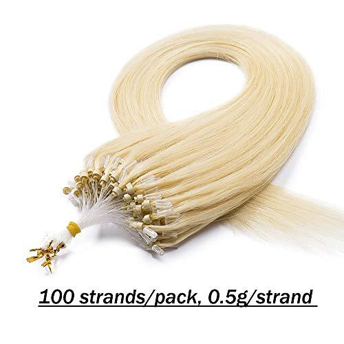 Extension capelli veri anelli #613 biondo chiarissimo - 100 ciocche estensioni loop 100% remy human hair lisci lunghi indiani naturali con microring anellini - 40cm 50g