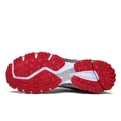 Chaussures de course running sport Compétition Trail entraînement homme femme basket ete baskets Noir Rouge bleu 35-46 Rouge