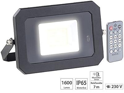 Luminea Aussenleuchte: Wetterfester LED-Fluter, Radar-Bewegungssensor, Fernbedienung, 20 W (LED Strahler Aussen)