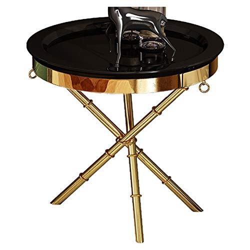 Post-Moderne Side/Minimaliste Sofa Side/Petite Table Basse, en Bois, Le Compagnon pour The Living Room Sofa, Rond, Noir (50 × 50 × 55.5cm)