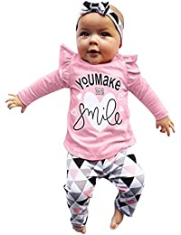 Ropa Bebe,❤️ Modaworld Recién Nacido bebé niño bebés niñas Carta Tops Camiseta Camisas y Estampados Pantalones geométricos Trajes Conjunto Conjuntos de Ropa