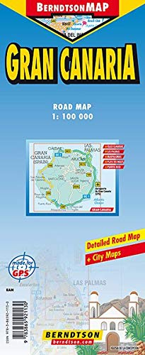 Gran Canaria 1: 100 000 +++ Islas Canarias, Las Palmas, Maspalomas, Playa del Inglés, Puerto Rico, Time Zone (BerndtsonMAP) (Road Map/ Landkarte) [Folded Map/ Faltkarte] (Landkarte Puerto Rico)