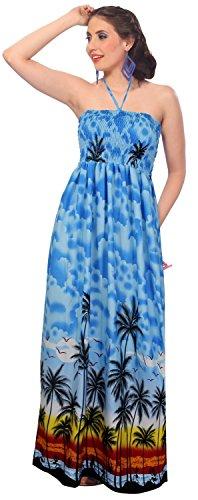 La-Leela-encubrir-sin-mangas-bandeau-loungewaer-likre-aloha-hawaiano-3-en-1-largo-ocasional-cctel-noche-largo-cabestro-cuello-dama-honor-verano-falda-ropa-playa-azul-las-seoras