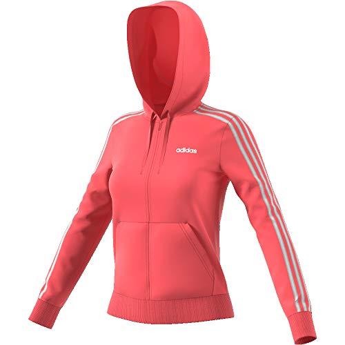 adidas Essentials 3stripes Full Zip Hoodie Hooded Track Top, Damen M Rosa/Weiß (Prism pink/White) (Hoodie Rosa Zip Sweatshirt)