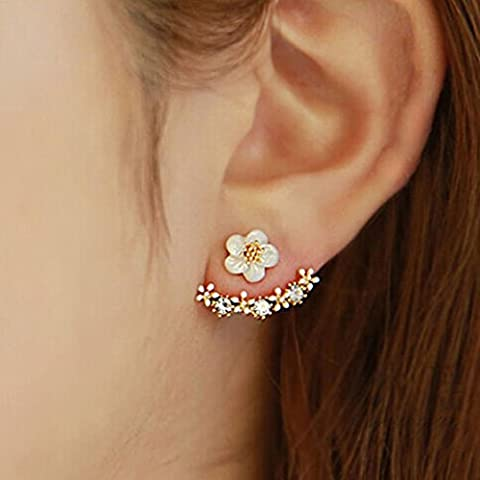 Bescita 1Pair Women Fashion Flower Crystal Ear Stud Earrings Earring Jewelry Gift (Gold)