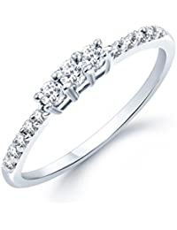 VK Jewels Classic (CZ) Rhodium Plated Ring - FR1016R [VKFR1016R]