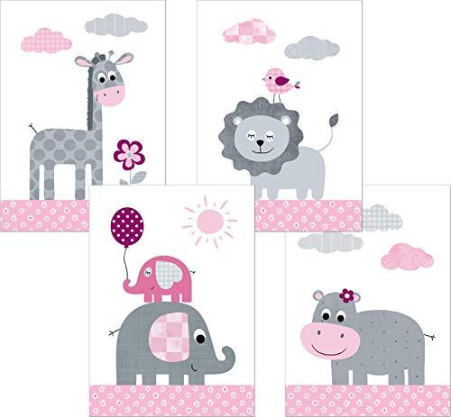 Lalelu-Prints 4er Set Poster Kinderzimmer Deko Mädchen DIN A4 Dschungeltiere rosa grau Elefant Giraffe Löwe Nilpferd Dschungel Safari I Kinderbilder Wandgestaltung Babyzimmer Wandbilder