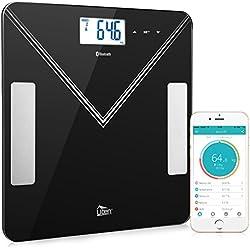 Balance Pèse Personne Balance Connectée Électronique avec Bluetooth, Pèse Personne Impédancemètre Analyseur de Composition Corporelle Mesure Poi
