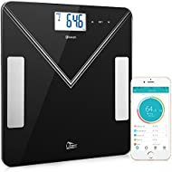 Uten Bluetooth Body Fat Scales Smart Digital Weighing Scales for Body Weight,BMI Body fat,Muscle Mass,Water,Bone Mass,Calorie,AMR and BMR,Body Composition Analyzer with iOS and Android APP with Step-On Technology(black)