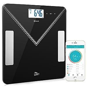 Uten Bilancia Pesapersone, Elettronica Wireless Ricaricabile Professionale Intelligente Bluetooth iOS Android per Dati Grasso Corporeo, Massa Muscolare, Metabolismo Basale, Massa Ossea, BMI