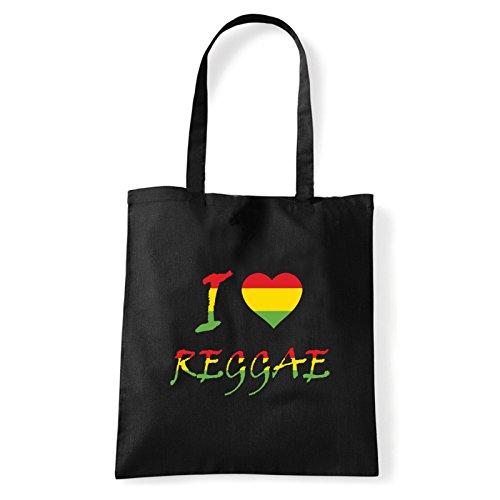 Art T-shirt, Borsa Shoulder I Love Reggae, Shopper, Mare Nero