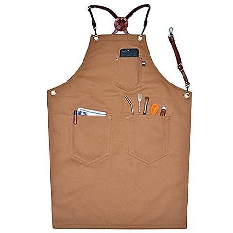 bhome Herren Verstellbar Cutton Arbeit Schürze mit Taschen für Garten, der BBQ Mehrfach verwendbar, khaki, S