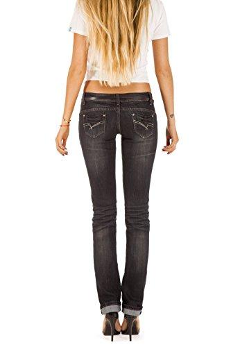 Bestyledberlin Donna Pantaloni Jeans, pantaloni a vita bassa j12kw Nero