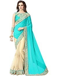 Glory Sarees Georgette Saree With Blouse Piece (sukanya blue_Blue and Beige_Free Size)