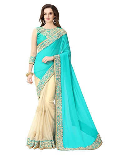 Glory Sarees Women\'s Georgette Saree With Blouse Piece (Sukanya Blue Saree_Blue & Beige)