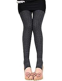 Tongshi Invierno caliente chica mujeres cómodo algodón medias Pantalones Leggings estribo pantalones (Gris oscuro, Tamaño libre)