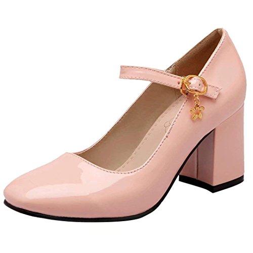 Coolulu Damen Mary Jane Schuhe Lack Pumps mit Blockabsatz Knöchelriemen 7cm Absatz(Pink,39)