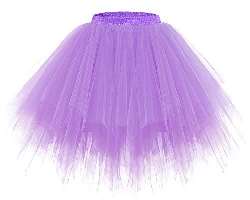 bridesmay Tutu Damenrock Tüllrock 50er Kurz Ballet Tanzkleid Unterkleid Cosplay Crinoline Petticoat für Rockabilly Kleid Lavender XL