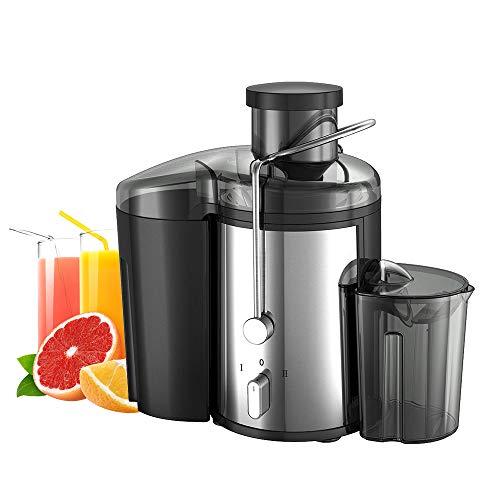 FJH Entsafter, Extractor Obst- Und Gemüsesaftpresse Wide Mouth Zentrifugalentsafter, Easy Clean Entsafter, Edelstahl, Doppel-Geschwindigkeit, 400W, BPA-Frei