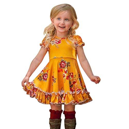 Obestseller Kleider für Mädchen Kleinkind Baby Kinder Sommer Blumendruck Print Kleid Prinzessin Kleid Mädchen Geraffte Rüschen Blumen Blumen Prinzessin Kleider Kleidung - Designer Blumen-mädchen-kleider