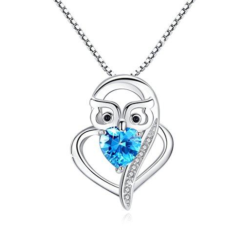Kette Damen 925 Sterling Silber Kette/Anhänger für Damen mit Eule Herz Anhänger Halskette 5A Zirkonia Schmuck 45CM Kettenlänge Geschenk für Damen