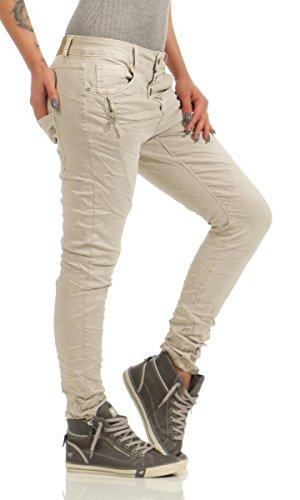 Fashion4Young 11424 LEXXURY Damen Jeans Röhrenjeans Hose Boyfriend Baggy Haremscut Damenjeans Slim-Fit (beige, 3XL-46) -