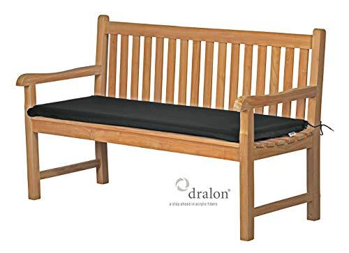 Bankauflage Sitzus aus lichtechtem Dralon – 100 x 40cm, anthrazit grau  Waschbar  Hoher Sitzkomfort  Öko-Tex 100   Polsterauflage, Gartenauflage für Bänke   Sitz-Kissen für...