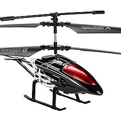 Zgifts Teledirigido helicóptero 3,5 Canal con el girocompás LED luz-manía RC Radio aleación Plano Juguete Resistencia del desplome para los niños de Interior al Aire Libre de la Navidad, Negro