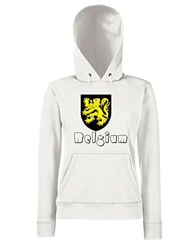 T-Shirtshock - Sweats a capuche Femme WC0036 BELGIUM BELGIO Blanc
