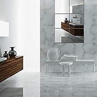 KingSaid 6Pcs Mirror Wall Sticker Square Self Adhesive Mirror for Home