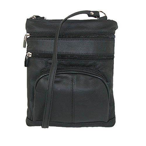 CTM Frauen Mehrere Taschen Leder Umhängetasche Black