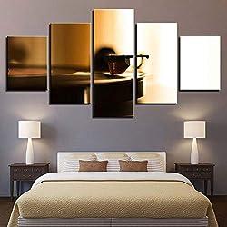 ASDZXC HD Impressions sur Toile Mur Art Photos Home Decor 5 Pièces Phonograph Modulaire Peintures Rétro Musique Platine Affiche