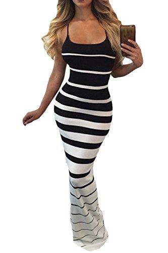 Le Donne Si Piazza Al Collo Criss Cross Gradiente Strisce Slim Bodycon Maxi Vestito Black