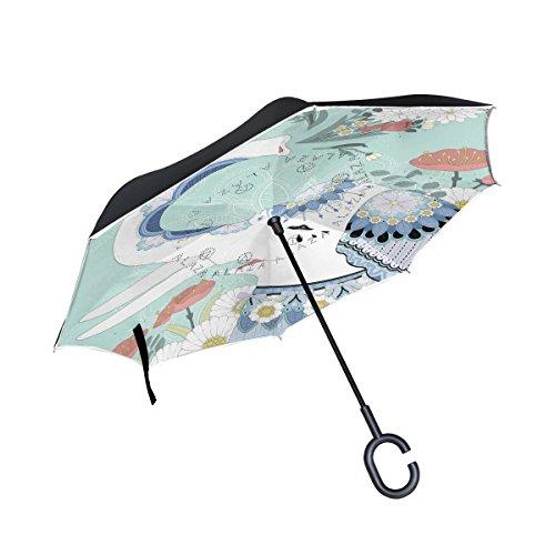 Mnsruu - Paraguas invertido de Doble Capa con diseño de Elefantes y...