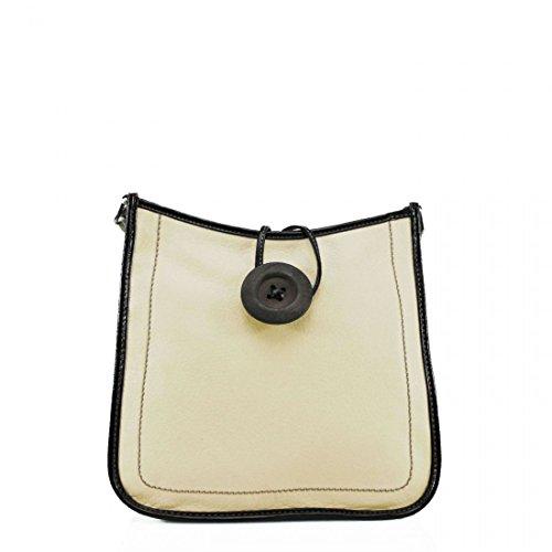 Ydezire® tracolla da donna in finta pelle con bottone, borsa da donna a tracolla Beige