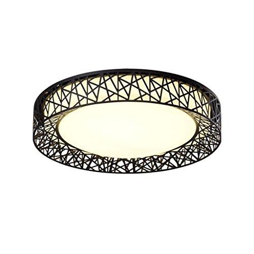 HUANGDA LED-Deckenleuchte Vogelnest Deckenleuchte Schlafzimmer rund Drei-Farben-Licht Feuchtigkeit-Beweis Staubdicht Deckenleuchte Ideal Beleuchtung 24W Neutral Schwarz Weiß Deckenleuchte