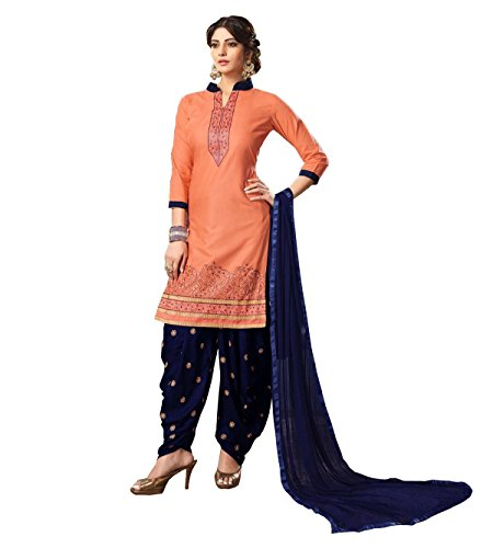 SareeShop Women's Cotton Salwar Suit Unstitched Dress Material(Femina-1001_Peach & Navy_ Free Size)