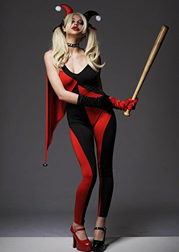 Magic Box Int. Womens Red Harley Quinn Style Catsuit Kostüm M (UK 10-12)