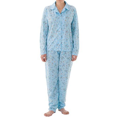 LUCKY Pyjama Set Damen Langarm Pyjama mit Druck und durchgehende Knopfleiste, Größe:L;Farbe:Hellblau