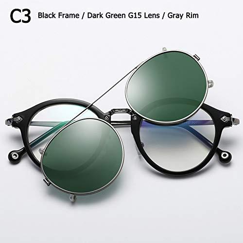 CCGSDJ Vintage Runde Stil Polarisierte Sonnenbrille Clip Auf Objektiv Abnehmbare Sonnenbrille Oculos De Sol