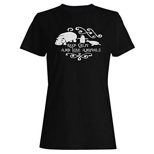 Mantén La Calma Y Ama A Los Animales camiseta de las mujeres k965f