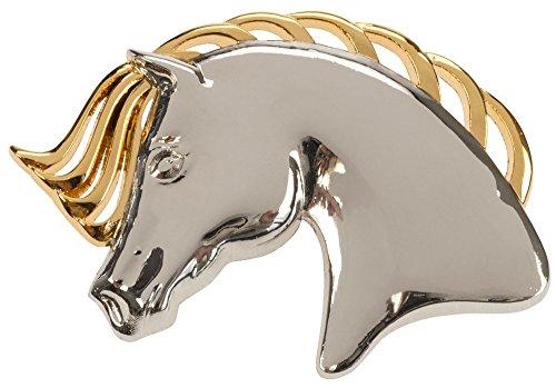 Gold & Silver Horse head-Spilla con la testa è in tre dimensioni, manto e l'accesso può essere usato come stock pin o indossata con una giacca, sciarpa