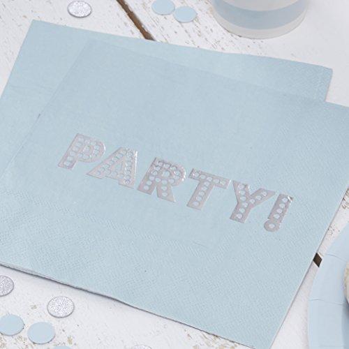 Ginger Ray Silber Vereitelt blau pastell Papier Party Servietten?Pastel Perfection (Blau Karierte Party Supplies)