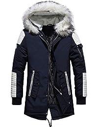 YYZYY Homme à Capuche Manteau Hiver Chaud Épais Fourrure avec Capuche  Rembourrée Veste Mens Warm Winter ea4d4246612