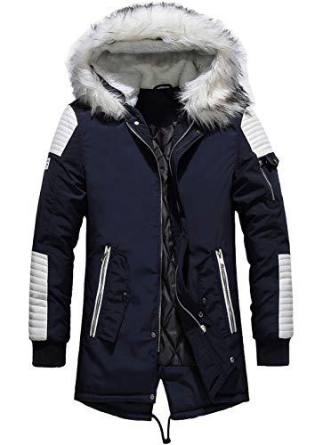 YYZYY Homme à Capuche Manteau Hiver Chaud Épais Fourrure avec Capuche Rembourrée Veste Mens Warm Winter Hooded Parka Coat Long Jacket (FR Medium, Marine - Blanc)