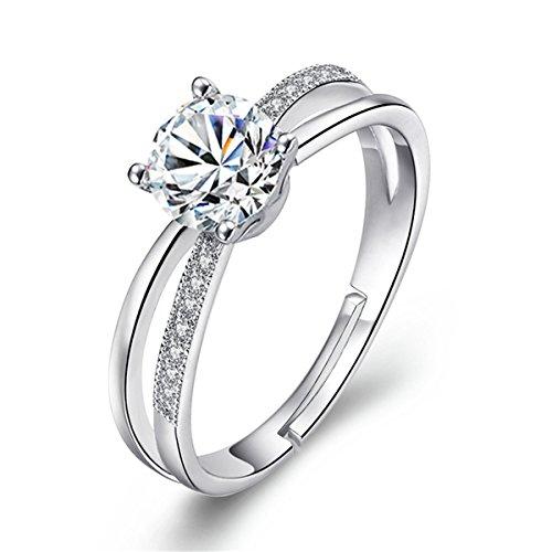 Dreamy Diamant Hochzeit Ring Öffnung Verstellbar 925Sterling Silber Ringe Freundschaft Ringe für ()