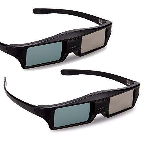 H&T 3D Active Shutter Brille Bluetooth Eyewear Brille, Virtual Reality Brille Signal für 3D HDTV Samsung/Panasonic/LG Bluetooth 3D Fernseher (2er Pack)