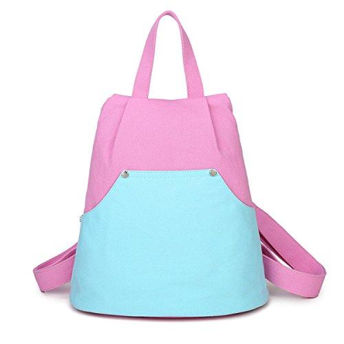 Fabelhaft Kleine Frische Leinwand Einfache Lässige Kleine Rucksack Personalisierte Hit Farbe Student Reisetasche PinkWithBlue